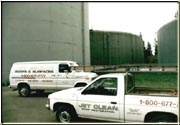 Trucks used for the surface cleaning of the water towers.